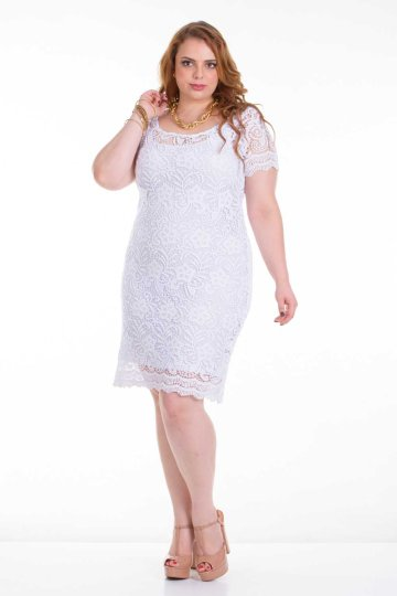 vestido plus size branco ref. 116115