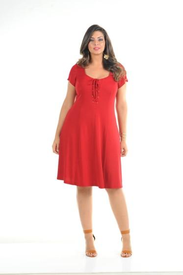 vestido plus size vermelho ref. 111164