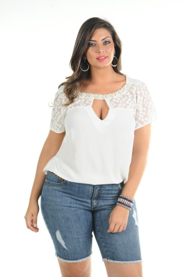 blusa plus size branca ref. 116129