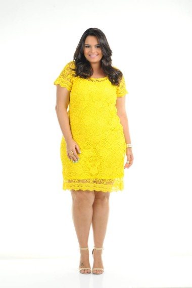 vestido plus size amarelo ref. 116115