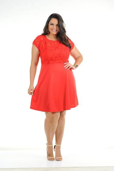 vestido plus size vermelho ref. 111167