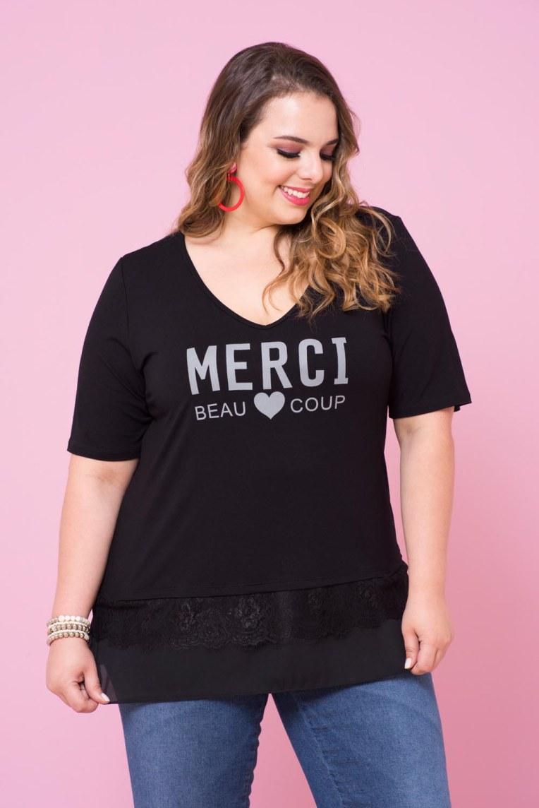 """6dbfa052e3fb9 Camiseta com uma brincadeira com a palavra """"obrigado"""" em francês."""