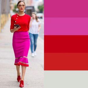 pink e vermelho